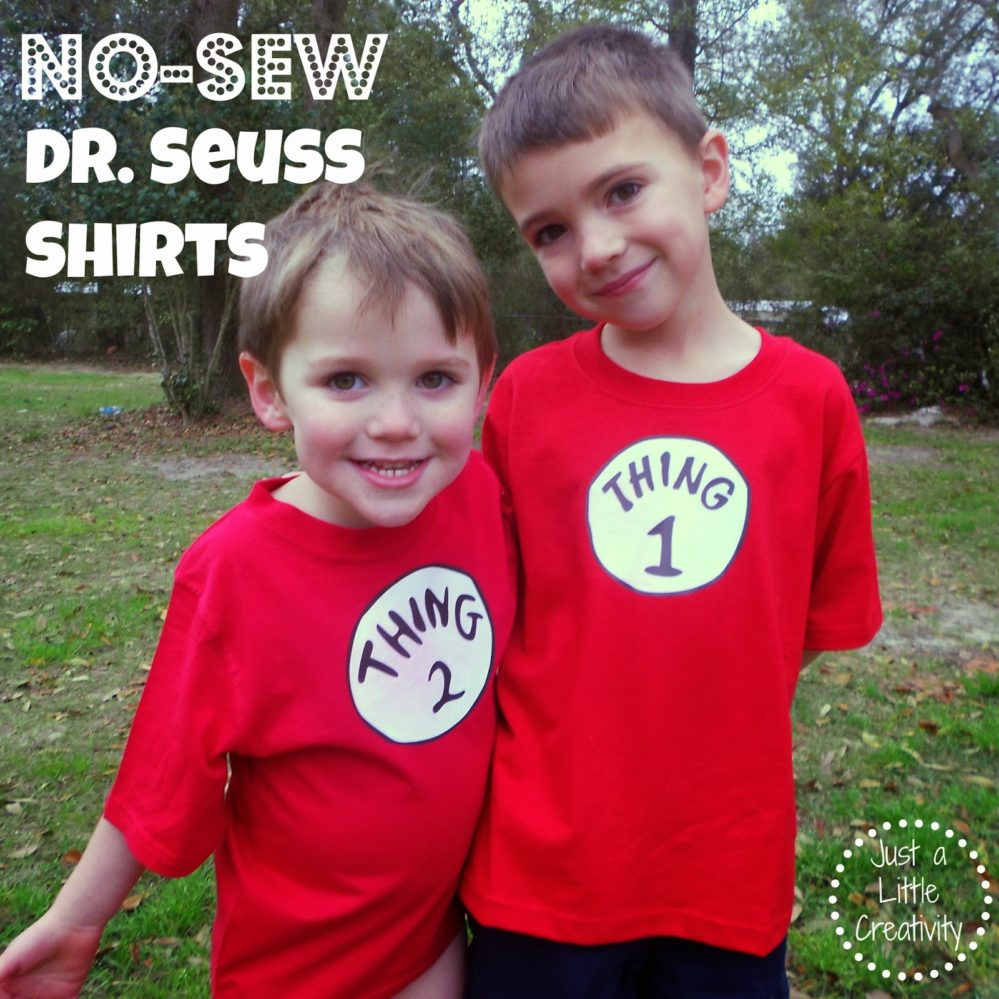 Make A No Sew Dr Seuss Shirt Thing One And Thing Two Just A