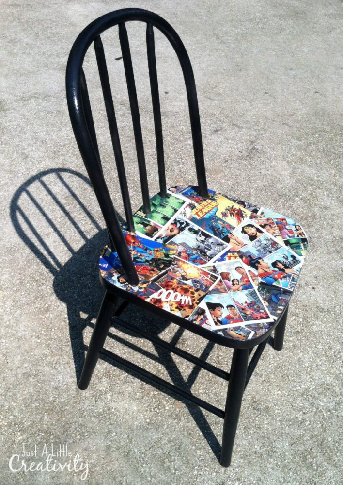 Kapow Diy Comic Book Chair Makeover Just A Little Creativity