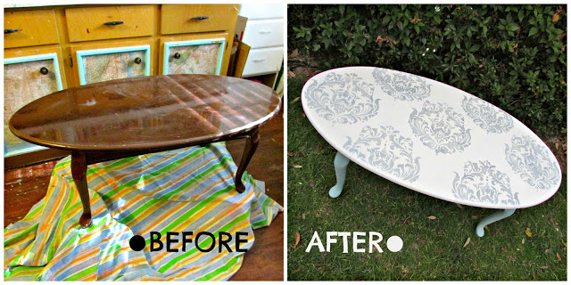 Take This Outdated Oval Coffee Table, For Example. You Can Just See How The  Use Of A Gorgeous Brocade Stencil, Along With Some Chalk Paint And Silver  Craft ...