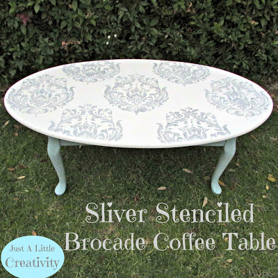 Silver Stenciled Brocade Coffee Table {PLUS A Cutting Edge Stencils  GIVEAWAY Winner Announced}