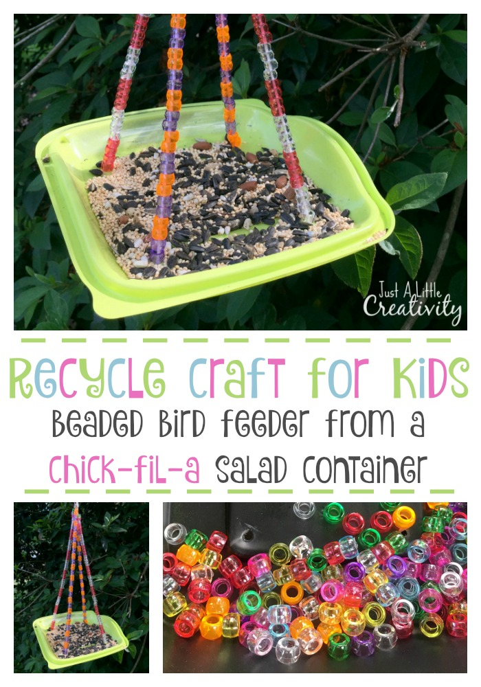 Recycle Craft For Kids Beaded Bird Feeder From A Salad