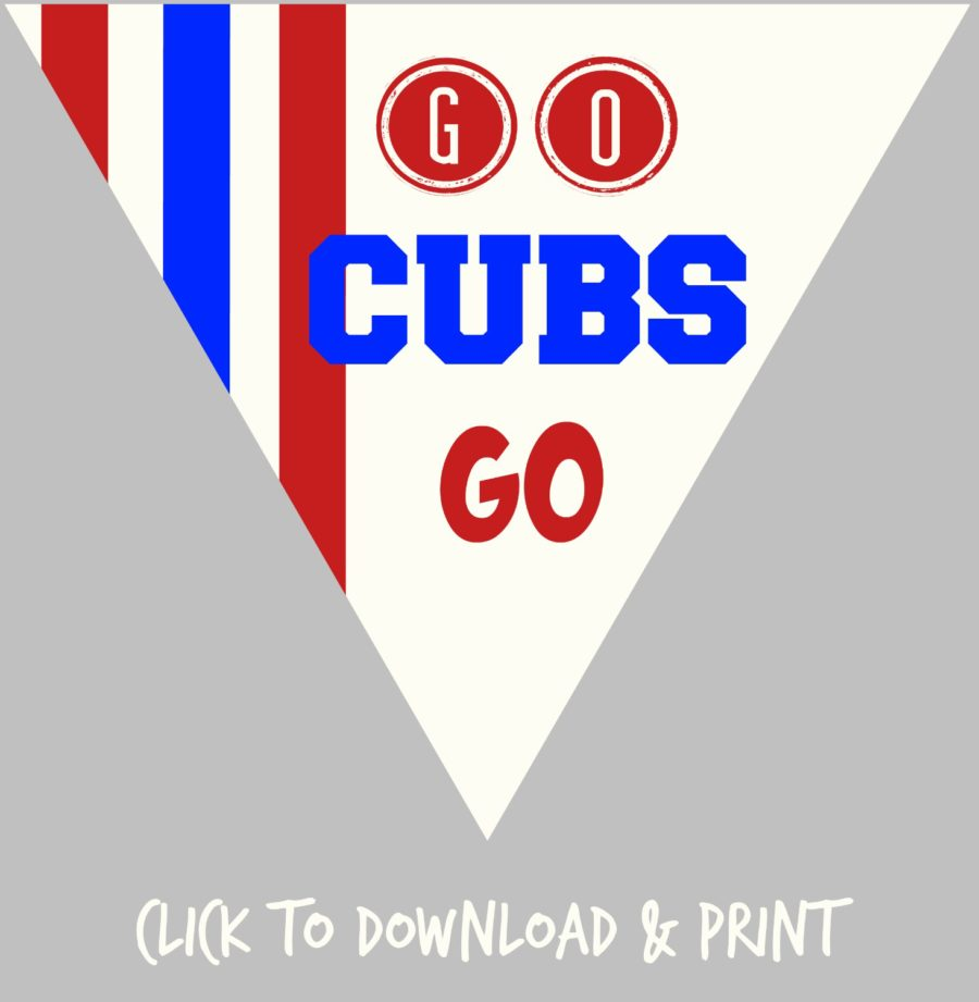 picture about Printable Cubs W Flag identify No cost Printable Decorations for Your Chicago Cubs Baseball Occasion