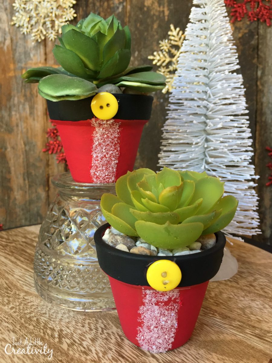 diy santa flower pots