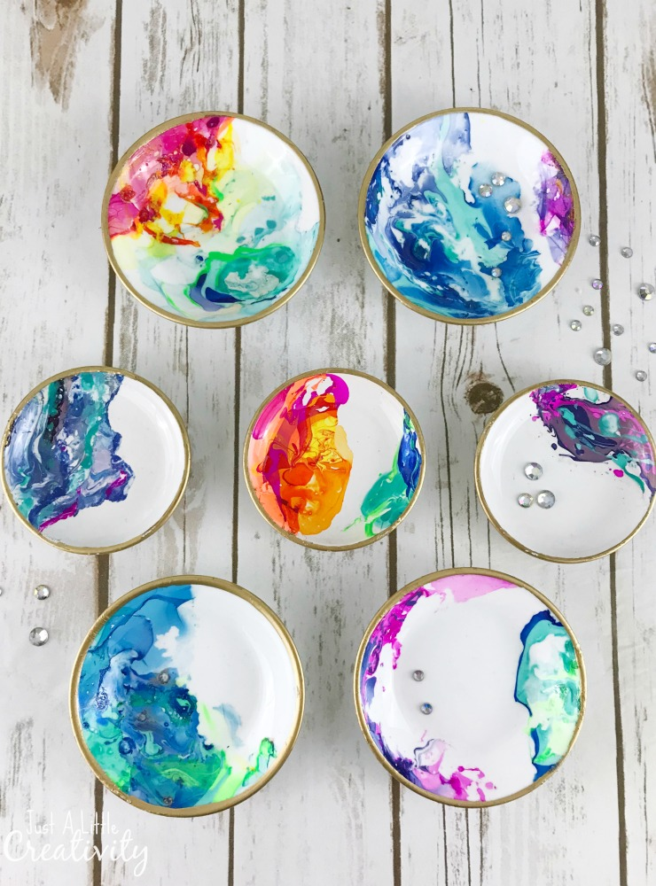 DIY colorful marbled ring dishes