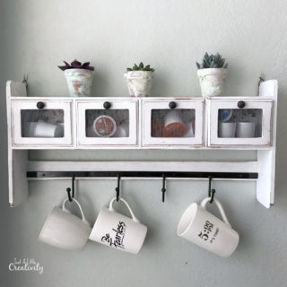 cute coffee station from repurposed shelf