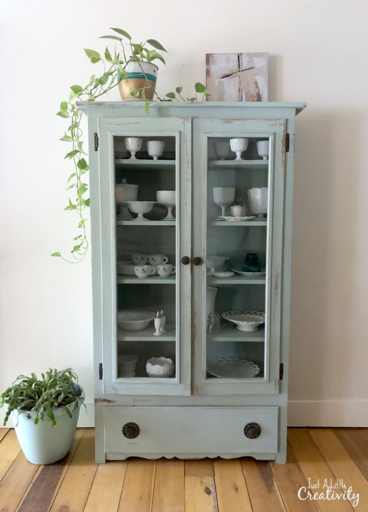My Favorite Chalk Paint For Farmhouse Style Furniture Makeovers   Duck Egg  Blue   Curio Cabinet