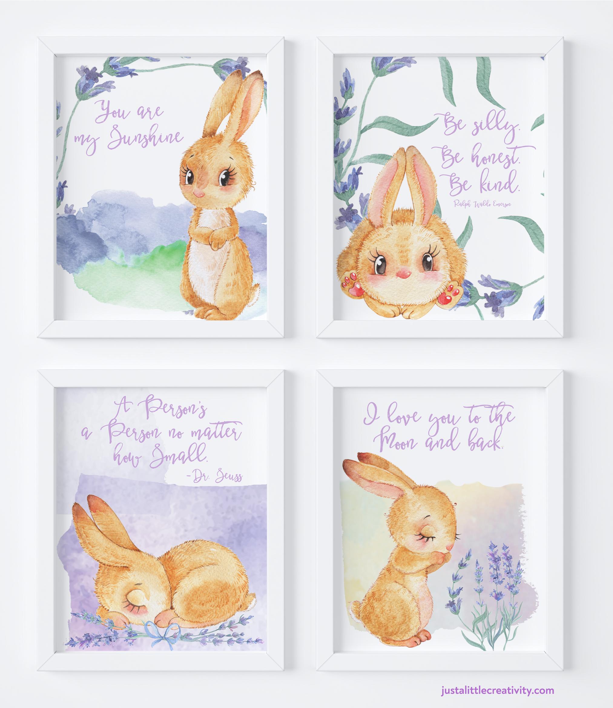 free printable bunny collection | Easter bunny printables