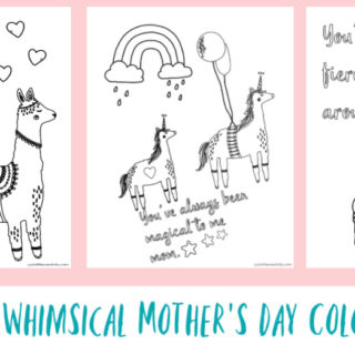 Three Free Whimsical Mother's Day Coloring Pages for Kids to Color - Llamas, Unicorns, and Bears